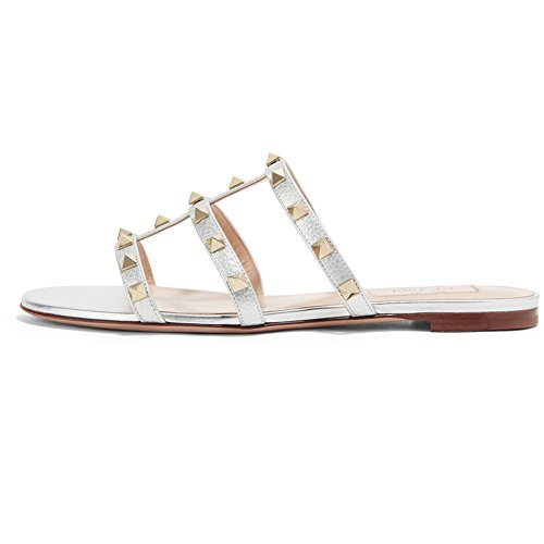 Kmeioo Mules for Women,Rivets Slide Sandals Rockstud Mule Flats Strappy Studded Gladiator Sandals Cut Out Dress Slippers