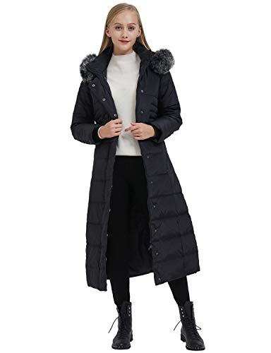 (ilishop Women's Thickened Maxi Down Jackets- Hooded Long Down Jacket Winter Parka Puffer Coat (XL,)