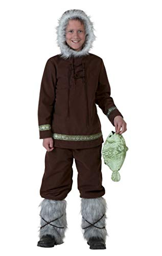 COSKING Eskimo Costume for Boys, Kids Deluxe Halloween Cosplay Outfit Performance Wear (Tag -