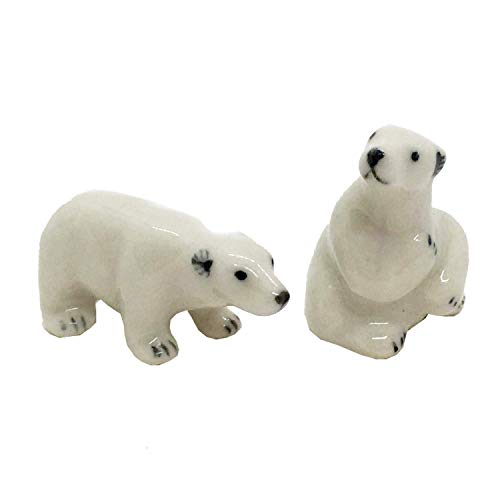 (WitnyStore Polar Bear Miniature Set Animal Ceramic Figurine Collectible Souvenir Handmade)