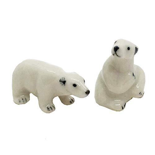 - WitnyStore Polar Bear Miniature Set Animal Ceramic Figurine Collectible Souvenir Handmade