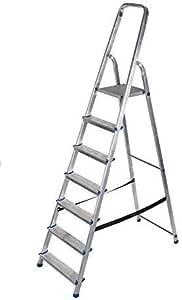 Aluminio Escalera 3 hasta 8 Escalones Escalera de Casa Escalera de Pintor Multiuso Escalera Plegable Tüv - 7 Escalones: Amazon.es: Bricolaje y herramientas