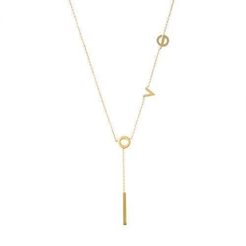 (LUREME Women's Stainless Steel Love Y Shaped Necklace Circle Lariat Necklace-18K Gold (nl005577-2))