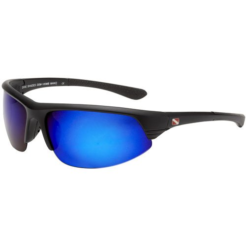 Dive Shades Mako Style Blue Multi Layer Mirror Lenses, Matte - Mako Eyewear