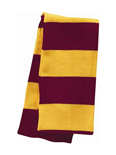 Sportsman - Rugby-Striped Knit Scarf - SP02 - One Size - Cardinal/Gold
