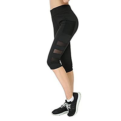 Women's Power Flex Yoga Pants with Pocket - Tummy Control - Workout Leggings Black
