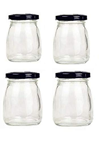 Four 3 Oz Honey - Motishi 3oz Glass Jars with Black Lids for Jam Honey Jelly Wedding Favors Crafts Canning Jars -Set of 4