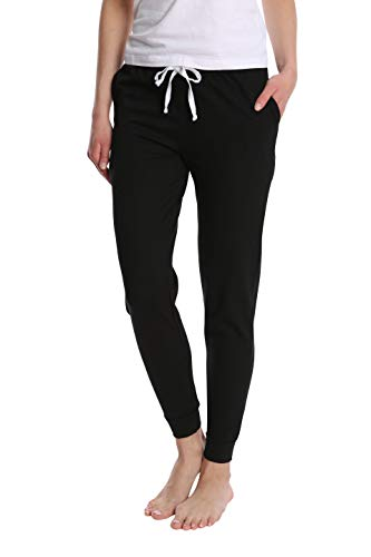 Women's Super Flattering Casual Jogger with Drawcord and Pockets - Black Night - X-Large