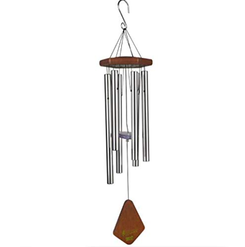 ZCP Wind Chimes, Solar Light Music Metal Tube Wind Chimes Wooden Outdoor Garden Decoration Hanging Bell Copper Tube Wind Chime (Color : Silver)
