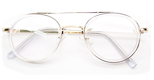 V.W.E. Vintage Inspired Metal Bridge and Temple - Clip-On Look Clear Lens Glasses (Clear/Gold, - For Women Frames Stylish