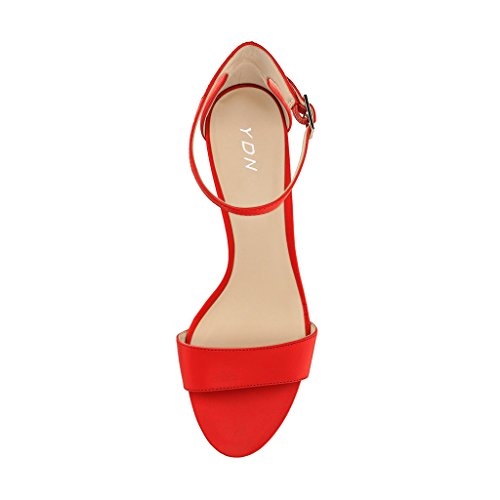 YDN Women Thin Mid Heels Sandals Buckle up Kitten Pumps Ankle Strap Summer Shoes Red for sale sale online for sale under $60 best seller sale online cheap sale lowest price nAIOgb