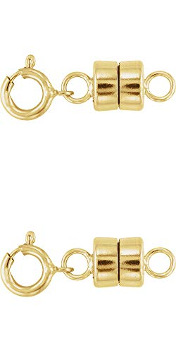 2- New Solid 14K Yellow Gold Barrel Magnetic Converter Necklace Clasps with Spring Ring for Necklaces, Bracelets, and Anklets. - Jewelry by Sweetpea