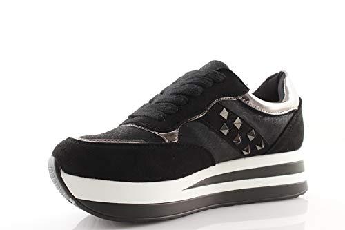 Donna Nere Nuove Con Nero Bianche Fondo Sneakers Zeppa Borchie Alto Damalu Argento 5gU40U