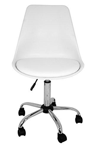 La Chaise Espagnole Sanabria – Chaise de bureau ou études de style nordique avec base chromé en blanc