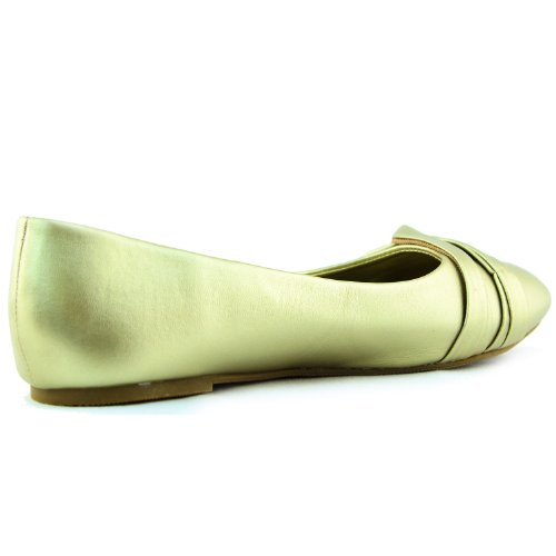 Donna Selvaggia Diva Larisa-02 Balletto Metallico Scarpe Casual Moda Scarpe Oro