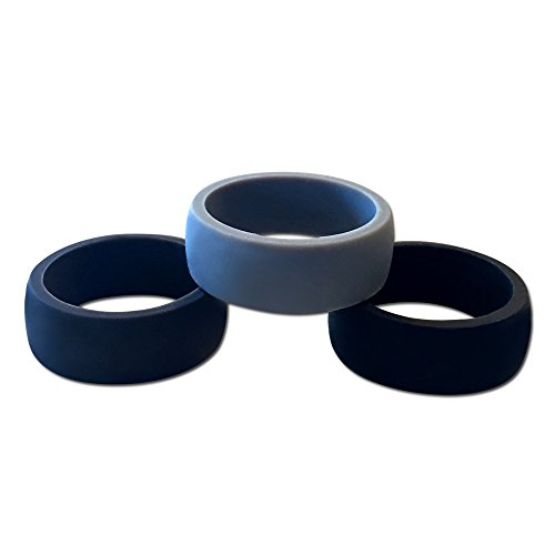Pine Silicone Wedding Ring for Men in Black, Charcoal, Gray, Red, and Blue - Comfortable Rubber Ring for Weight Lifting, Hiking, Travel, Exercise, Camping, Water Sports - Safe Ring for Professionals