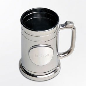 Engraved Pewter Medallion (Personalized Barware - Contemporary & Classic Gunmetal Mug Beer Glass With Engraved Pewter Medallion)