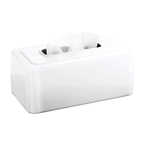 InterDesign Olivia Facial Tissue Box Cover/Holder for Bathroom Vanity Countertops - White (Tissue Bath Design Holder)