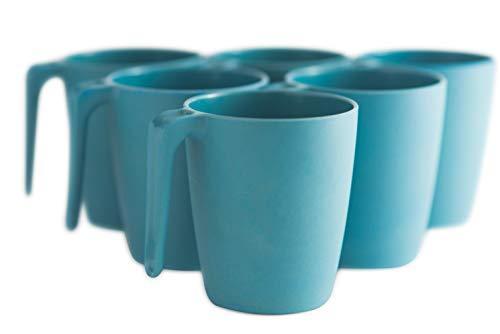 Natura Green- Bamboo Mugs- Set of 6-13 oz (390 ml) each (Blue)