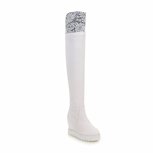 La Sra. invierno pendiente con botas de tacón alto de encaje zapatos de tallas de rodilla White (Terry)