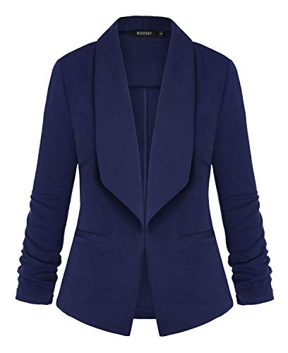 3/4 Ruched Sleeve Open Front Work Office Blazer Jacket ()