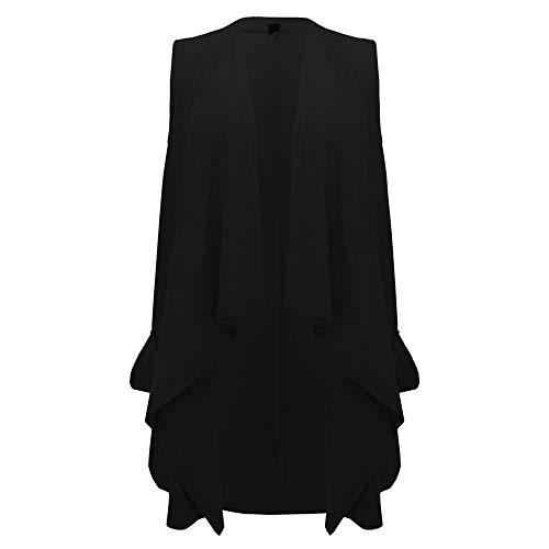 Veste Poche Cardigan Manteau Femmes Manteau Hiver Gilet Automne Ouvert Vestes Noir Asymtrique Cascade GreatestPAK ZwfPgqd
