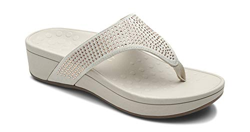 Vionic Women's Naples Platform Sandal - Toe Post Sandals with Concealed Arch Support Champagne 10 M US