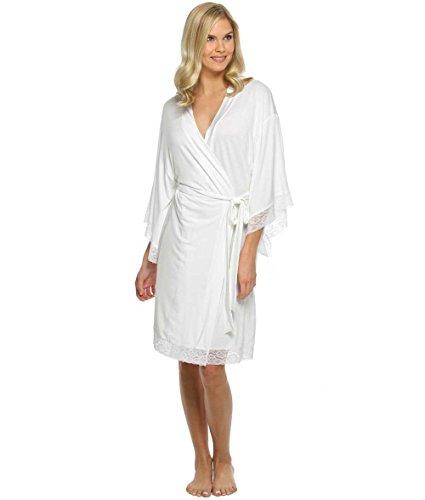 The Paisley Box Women's White Jersey Lace Robe, Size - Lace Robe Jersey