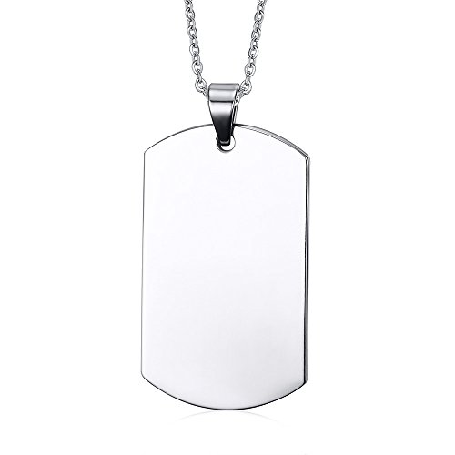 VNOX Free Engraving Stainless Steel Plain Dog Tag Pendant Necklace with 24