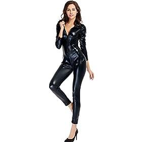- 31RKBJh3pPL - Ensnovo Womens Shiny Metallic Lycra Spandex Shirt Collar Zipper Catsuits