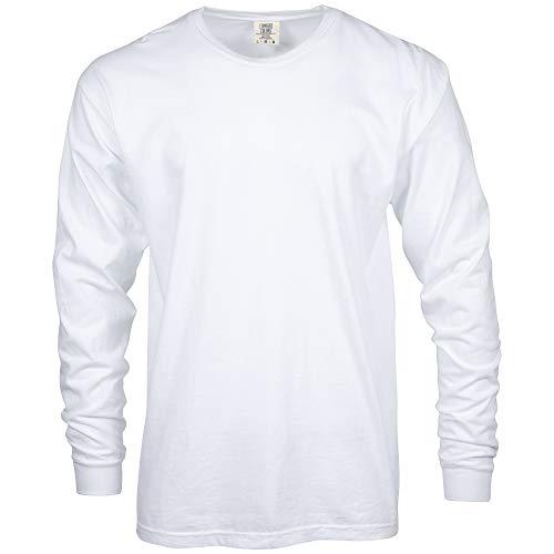 Comfort Colors Men's Adult Long Sleeve Tee, Style 6014, White, Medium