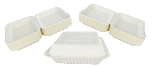 Green Earth 9-Inch, 100-Count, 1-Compartment, Compostable Clamshell, Natural Bagasse (Sugarcane Fiber), Take-Out/To-Go Food Boxes - Biodegradable Containers, Hinged Lid - Microwave-Safe - Gluten-Free