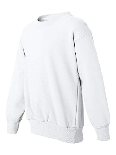Hanes 7.8 oz Youth COMFORTBLEND EcoSmart Long Sleeve Fleece Crew, White, Small