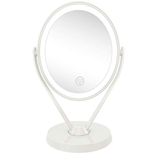 Aesfee Double-Sided 1x/7x Magnification LED Makeup Mirror with Lights, Lighted Vanity Magnified Mirror USB Chargeable…