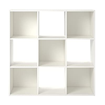 RealRooms Tally 9 Cube Bookcase, White - Add versatile and customizable storage to any room with the Ameriwood Basics Collection Tally 9 Cube Bookcase The crisp white finish on the laminated particleboard gives the Bookcase an updated, modern look Display a variety of items such as photos, decorative accents, and collectibles in the 9 open cubbies - living-room-furniture, living-room, bookcases-bookshelves - 31RKDiUcDvL. SS400  -