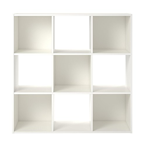 Ameriwood Basics Collection White Alexander 9 Cube Bookcase, Optimal Easy to Access storage Cubbies, Made From Laminated Particleboard with White Finish by Ameriwood