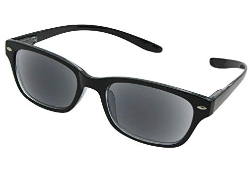 Convenient Reading Sunglasses With Sunglass Rage Pouch (Black Frame-Gray Lenses, 2.00) ()