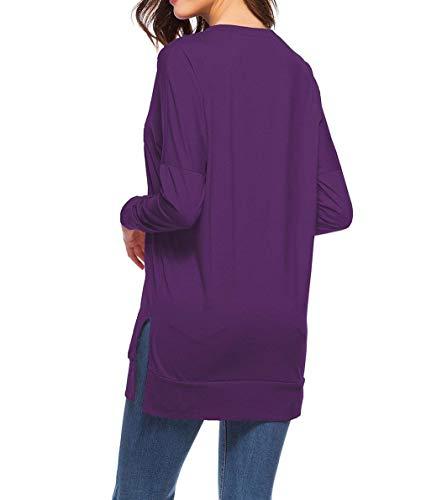Manga Sueltas Mode Niños De Sólido Cuello Redondo Moda Lila Marca Blusa Suelta Color Otoño Tops Larga Casual Tenedor Basic Mujeres Camiseta Túnica Elegante x5wOzPx
