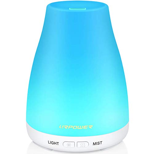 URPOWER 2nd Version Essential Oil Diffuser Aroma Essential Oil Cool Mist Humidifier with Adjustable Mist Mode,Waterless Auto Shut-off and 7 Color LED Lights Changing for Home (White) (Humidifier Water Scent)