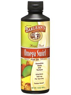 Barlean's Mango Peach Fish Oil Omega Swirl, 16-ounce-(3 Bottles)