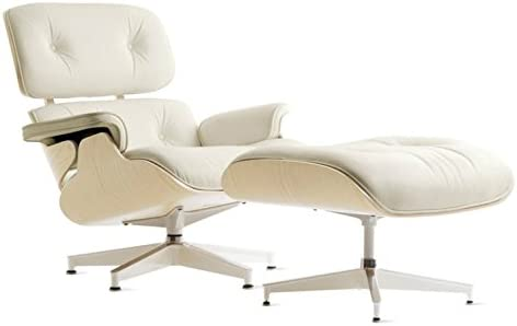 Eames style replica Midcentury Modern plywood chair and ottoman with white leather and white ash.