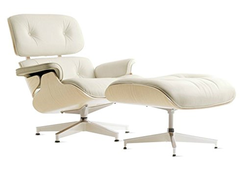 Mid Century Modern Classic White Ash Wood Plywood Lounge Chair Ottoman With White Premium Top Grain Leather Eames Style Replica