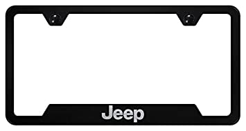 Amazon.com: Jeep Negro Acero Inoxidable Marco de la placa de ...