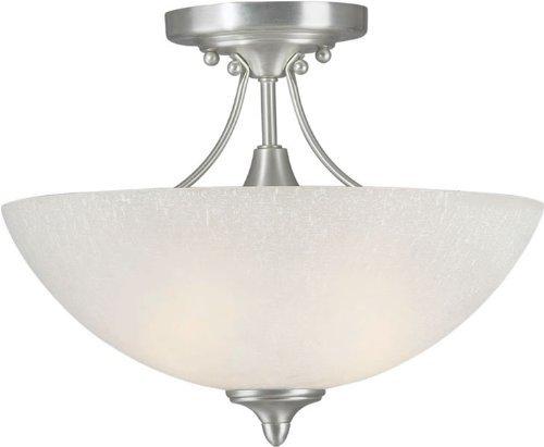 (Forte Lighting 2378-02-55 Transitional 2-Light Semi-Flush with White Linen Glass, Brushed Nickel Finish by Forte Lighting )