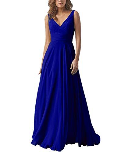 (Yilis Double V Neck Elegant Long Bridesmaid Dress Chiffon Wedding Evening Dress Royal Blue Size12)