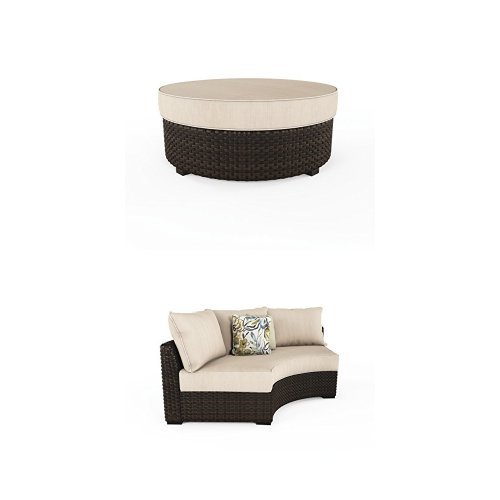 Ashley Furniture Signature Design - Spring Ridge 3-Piece Sectional Set - 2 Curved Corner Chairs & Cushioned Ottoman - Beige & Brown