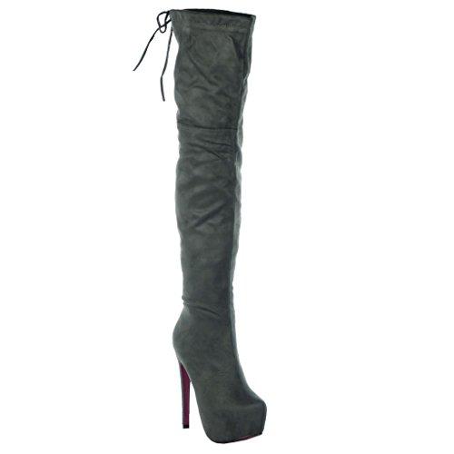 Angkorly - Damesko Lår-boot - Sexy - Stilethæl - Platform Sko - Blonder Stilethæl 15 Cm Grå xBNsJtjUm9