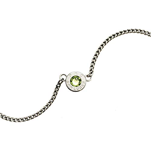 (Acclaim Ammo Jewelry, Bullet Jewelry Necklace, Peridot Color Swarovski Crystal (August Birthstone) - Fine Rhodium Plated Brass)