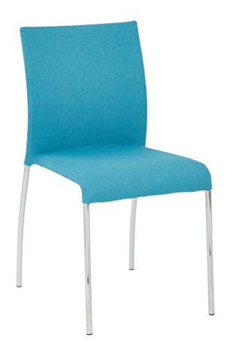 AVE SIX Conway Upholstered Stacking Chair with Chrome Legs, 4-Pack, Aqua
