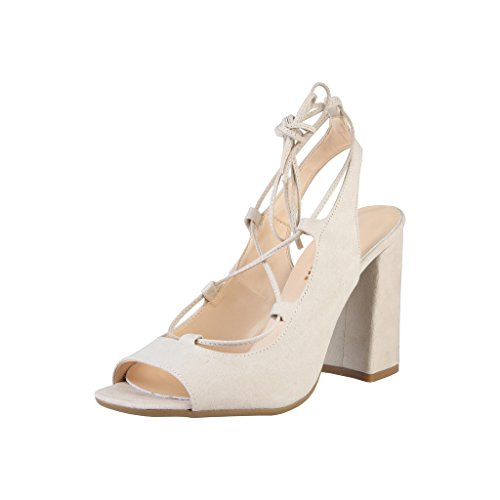 Ankle Womens Linda Sandals In Strap Beige Made High Ladies Adjustable Italia Heel With qxwvnBfSA